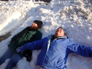 BFF from college Jodi and me making snow angels!